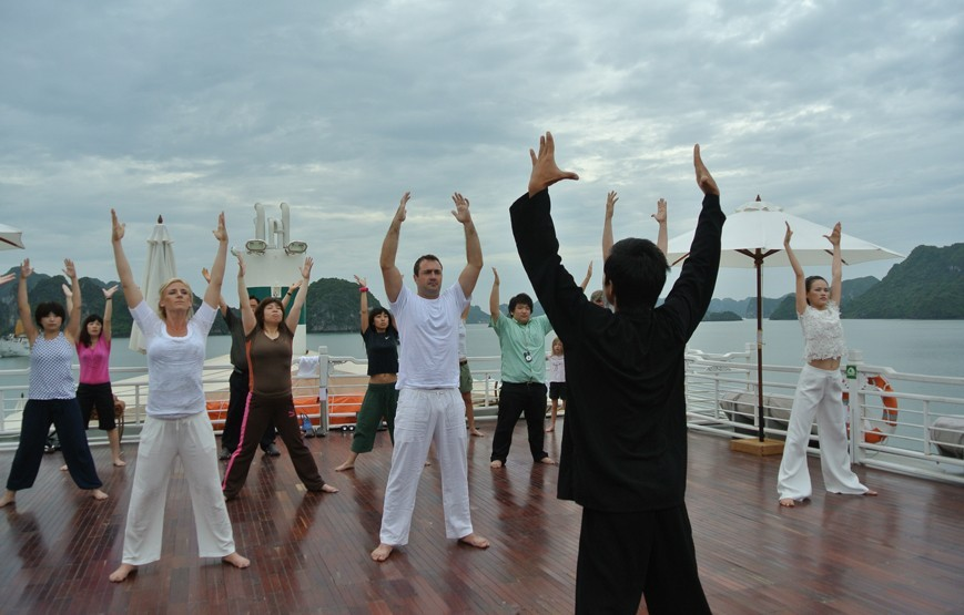 Tai Chi on the Sundeck - Halong Bay